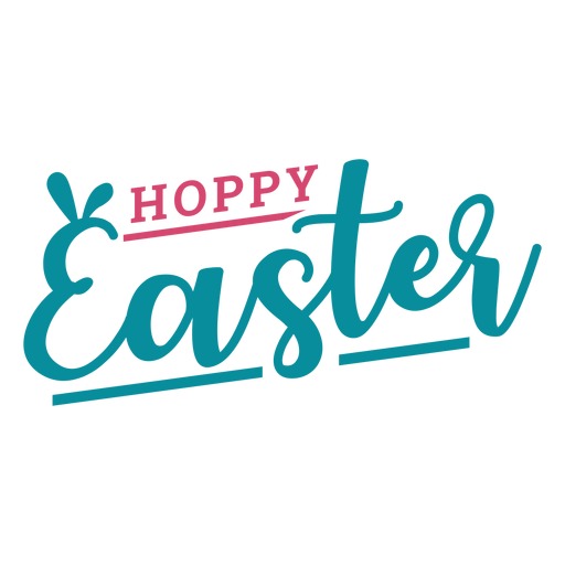 Happy easter bunny ears lettering Transparent PNG