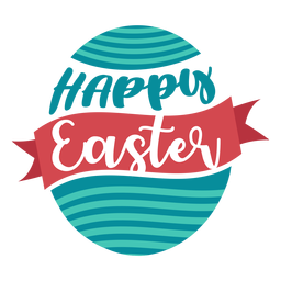 Happy easter ribbon egg lettering