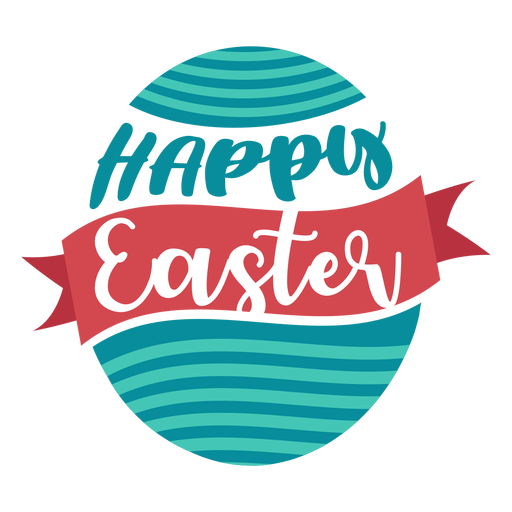 Happy easter ribbon egg lettering Transparent PNG