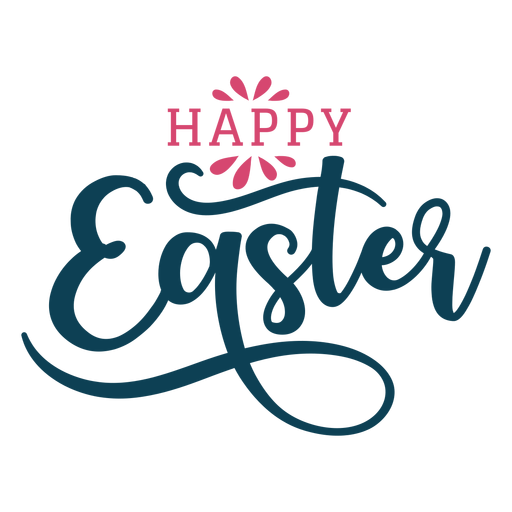 Happy easter swirls lettering Transparent PNG