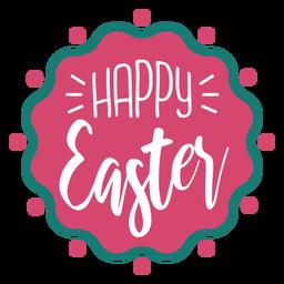 Feliz Pascua letras insignia ondulada