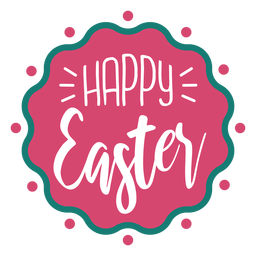 Happy easter wavy badge lettering