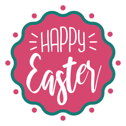 Happy easter wavy badge lettering Transparent PNG