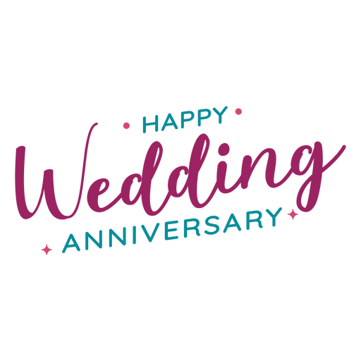 Happy wedding anniversary lettering Transparent PNG