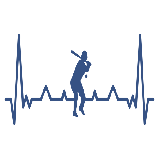 Heartbeat with baseball player Transparent PNG