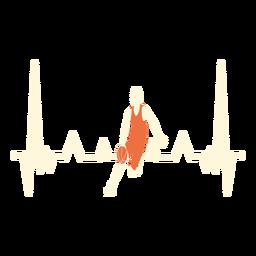 Herzschlag mit Basketballspieler