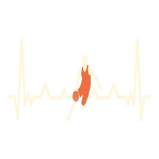 Heartbeat with basketball player Transparent PNG