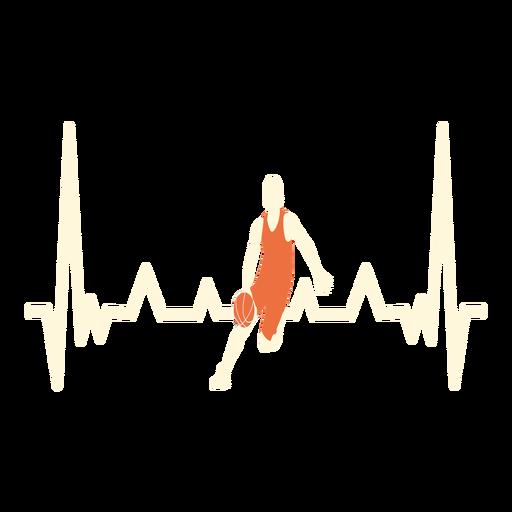 Latido del corazón con jugador de baloncesto. Transparent PNG