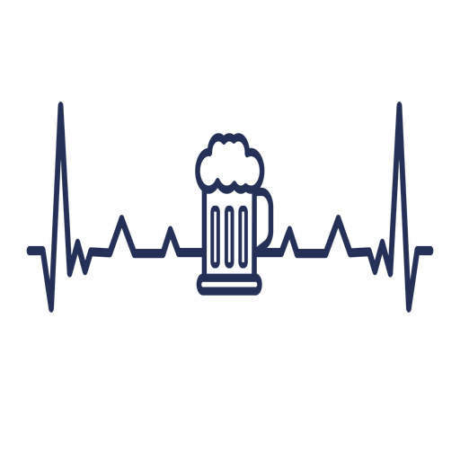 Heartbeat with beer mug Transparent PNG