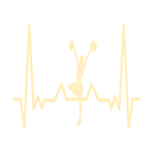 Heartbeat with cheerleader girl Transparent PNG