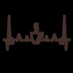 Batimento cardíaco com xícara de café