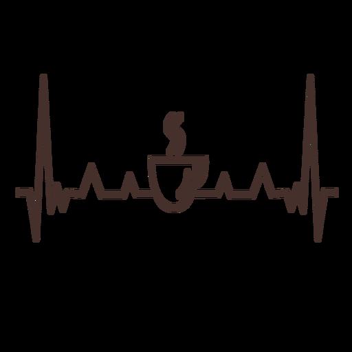 Batimento cardíaco com xícara de café Transparent PNG