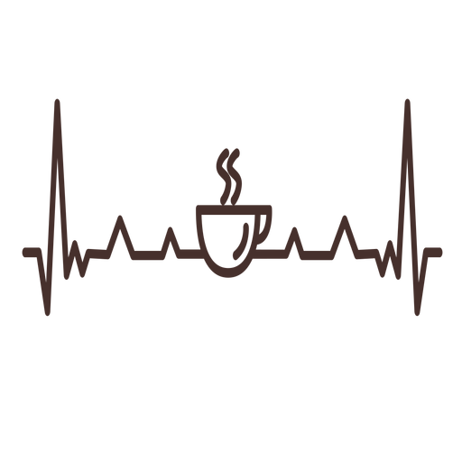 Heartbeat with coffee cup Transparent PNG