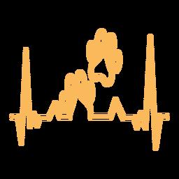 Batimento cardíaco com impressão de patas de cão