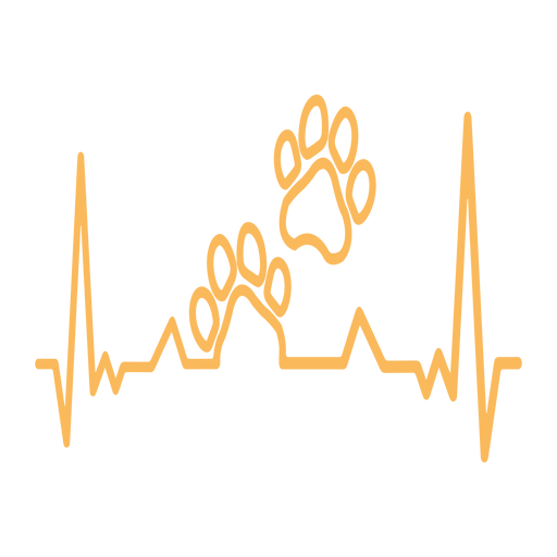 Heartbeat with dog paws print