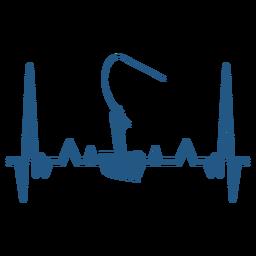 Batimento cardíaco com pescador no barco
