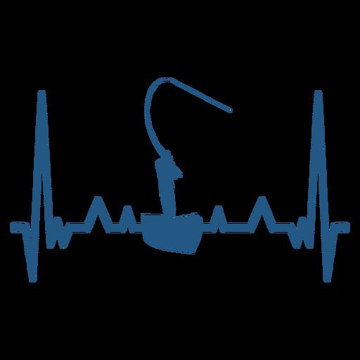 Batimento cardíaco com pescador no barco Transparent PNG