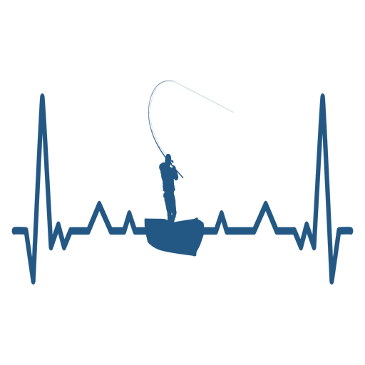 Heartbeat with fisherman on boat Transparent PNG