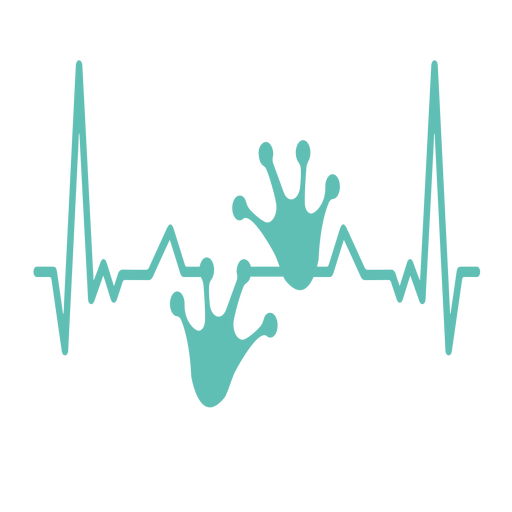 Heartbeat with frog foorprints Transparent PNG