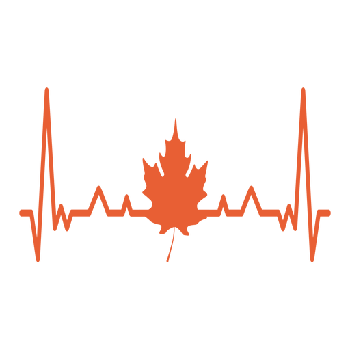 Heartbeat with maple leaf Transparent PNG