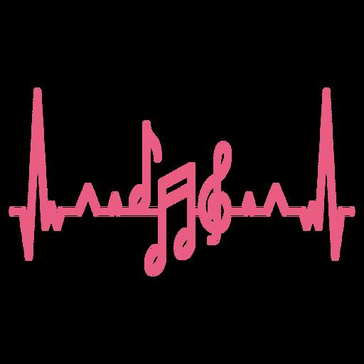 Batimento cardíaco com notas musicais Transparent PNG