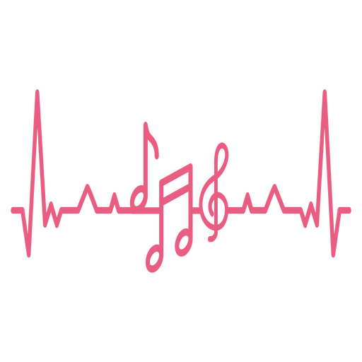Heartbeat with music notes Transparent PNG