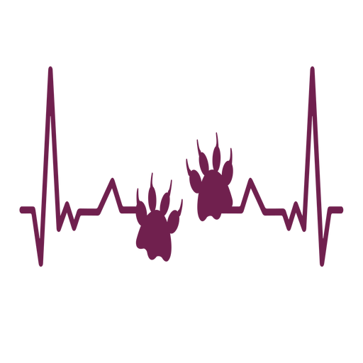 Heartbeat with paw prints Transparent PNG