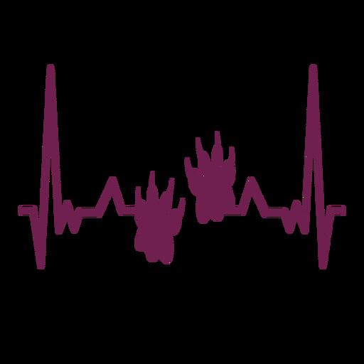 Latido del corazón con huellas de pata. Transparent PNG