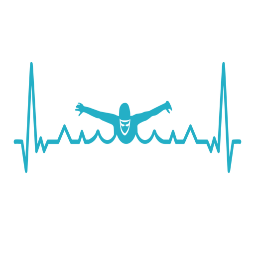 Heartbeat with swimmer Transparent PNG
