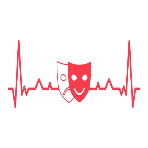 Heartbeat with theater masks Transparent PNG