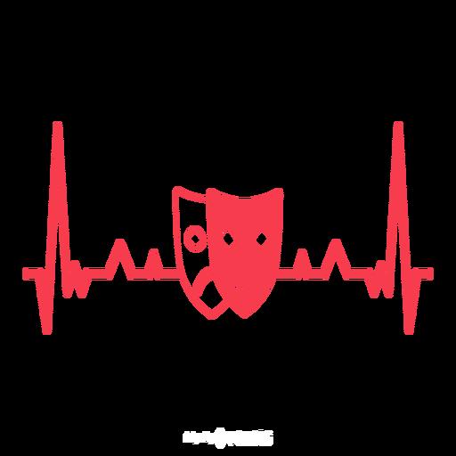 Latido del corazón con máscaras de teatro. Transparent PNG
