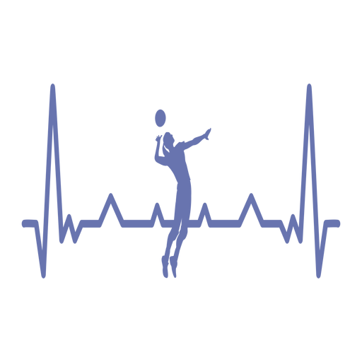 Heartbeat with volleyball player Transparent PNG