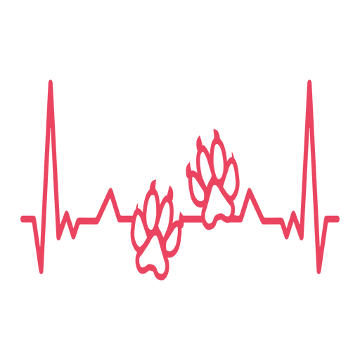Heartbeat with wolf paw prints Transparent PNG