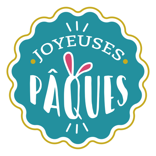 Joyeuses paques bunny ears lettering Transparent PNG