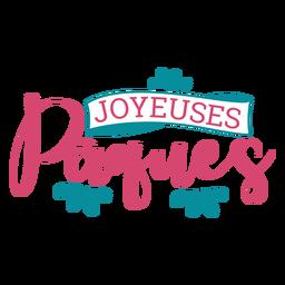 Joyeuses paques ribbon lettering
