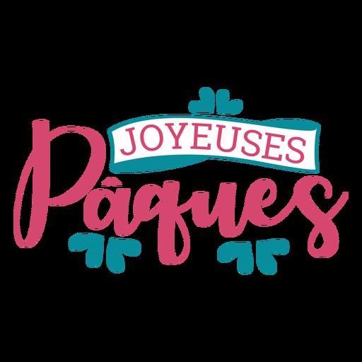 Joyeuses paques ribbon lettering Transparent PNG