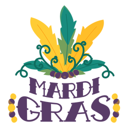 Mardi gras carnival feathers lettering