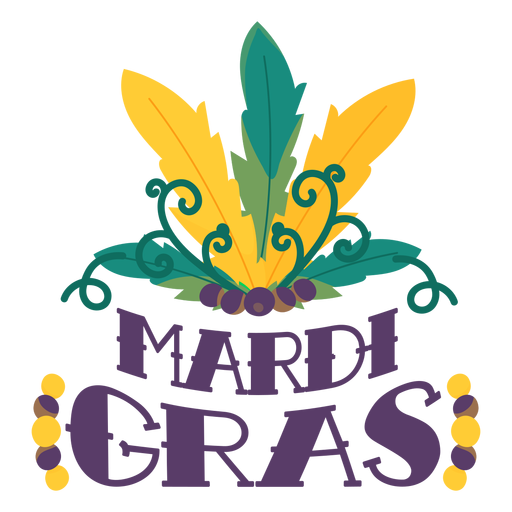 Mardi gras carnival feathers lettering Transparent PNG