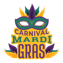 Mardi gras colombina mask lettering