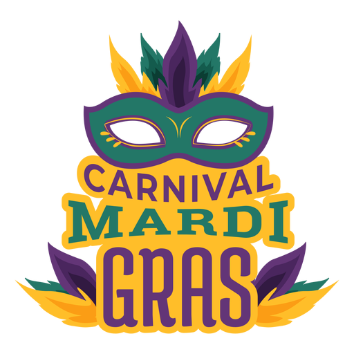 Mardi gras colombina mask lettering Transparent PNG