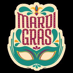 Etiqueta de máscara de colombina de Mardi Gras