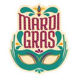 Mardi gras colombina mask sticker