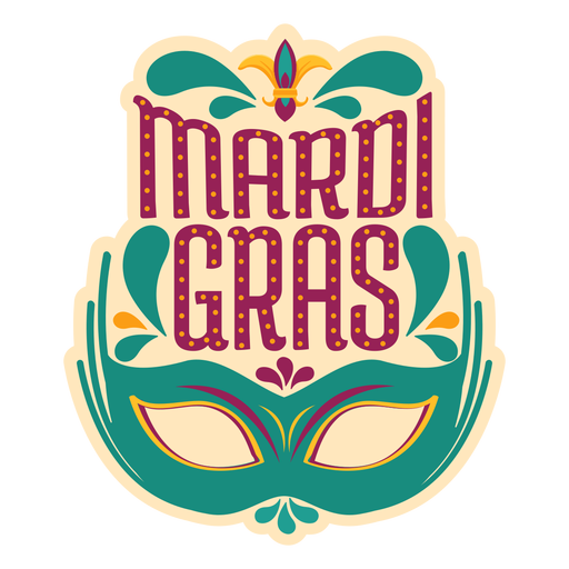 Mardi gras colombina mask sticker Transparent PNG