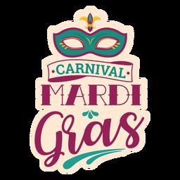Mardi gras domino mask lettering