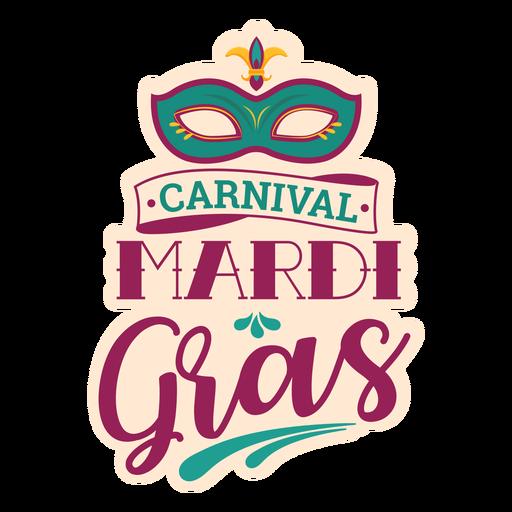 Mardi gras domino mask lettering Transparent PNG