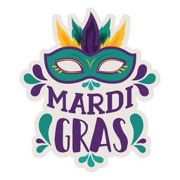 Mardi gras domino mask sticker