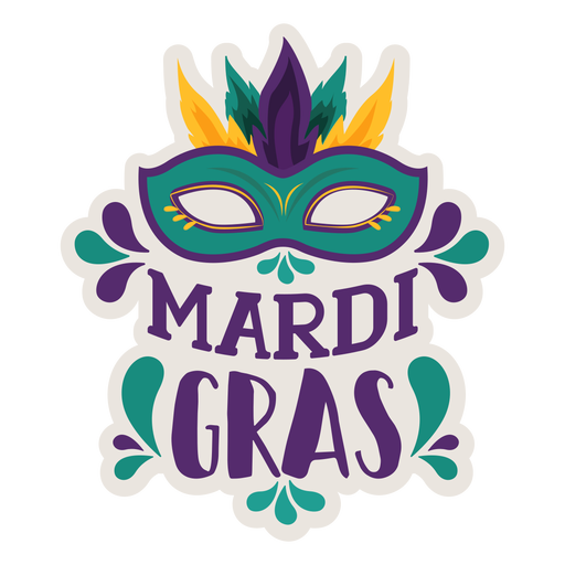 Mardi gras domino mask sticker Transparent PNG