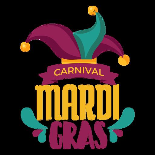 Mardi gras jester hat lettering Transparent PNG
