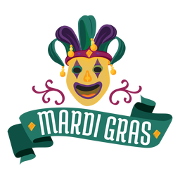 Mardi gras bufón máscara letras