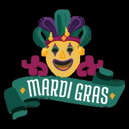 Mardi gras jester mask lettering